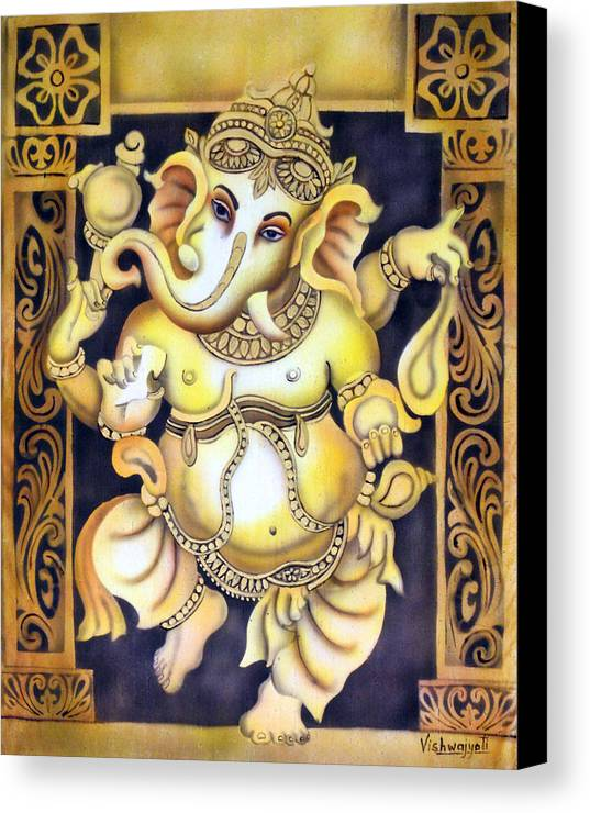 Ganesh Canvas Print featuring the painting Dancing Ganesh by Vishwajyoti Mohrhoff