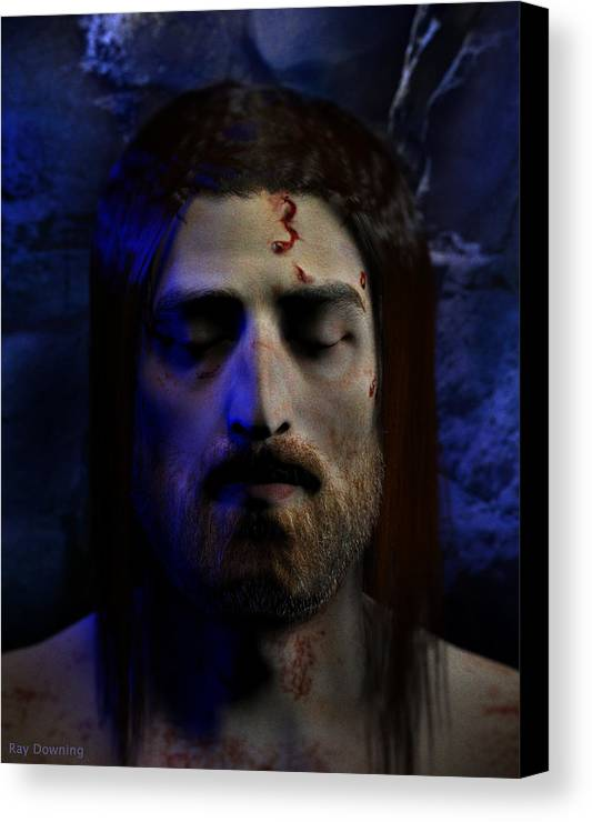 Jesus Canvas Print featuring the digital art Jesus In Death by Ray Downing