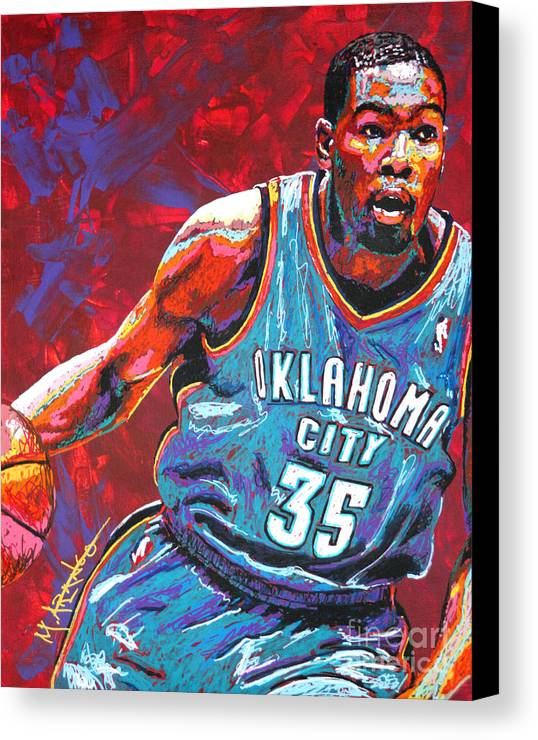Kevin Canvas Print featuring the painting Kevin Durant 2 by Maria Arango