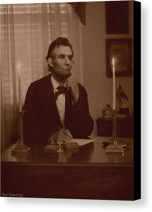 Abraham Lincoln Canvas Print featuring the digital art Lincoln At His Desk by Ray Downing