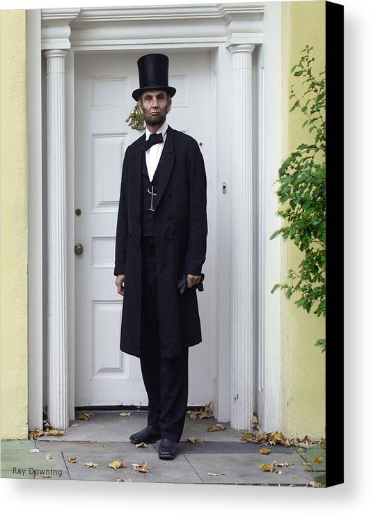 Abraham Lincoln Canvas Print featuring the digital art Lincoln Leaving A Building 2 by Ray Downing