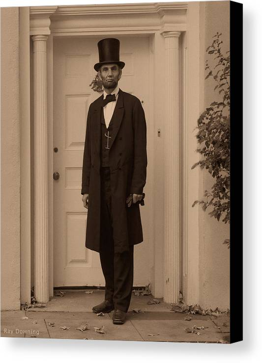 Abraham Lincoln Canvas Print featuring the digital art Lincoln Leaving A Building by Ray Downing