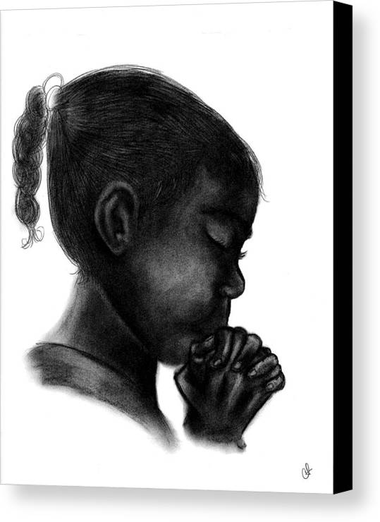 Praying Canvas Print featuring the drawing Praying Firl by Charonda Taylor