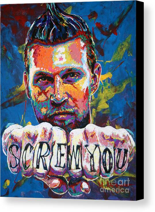 Chris Andersen Canvas Print featuring the painting Screw You by Maria Arango