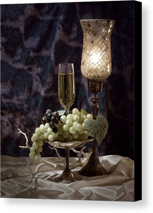 Wine Canvas Print featuring the photograph Still Life Wine With Grapes by Tom Mc Nemar