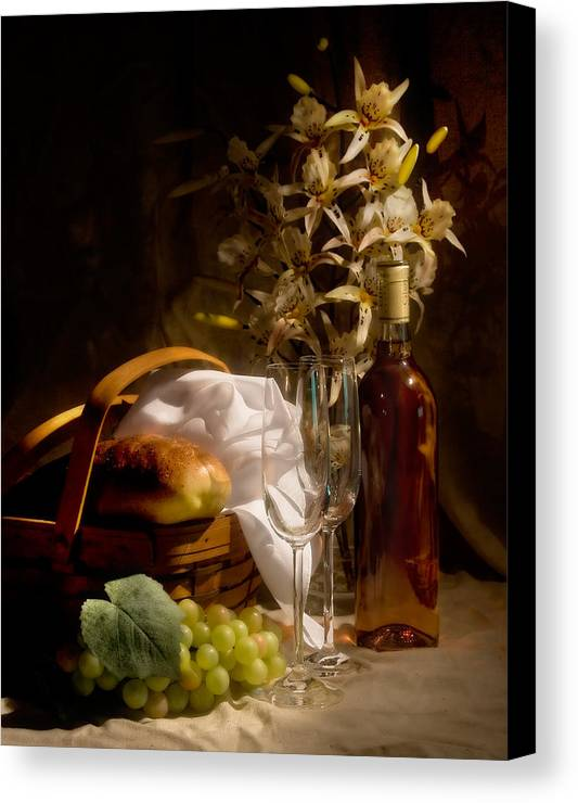 Wine Canvas Print featuring the photograph Wine And Romance by Tom Mc Nemar