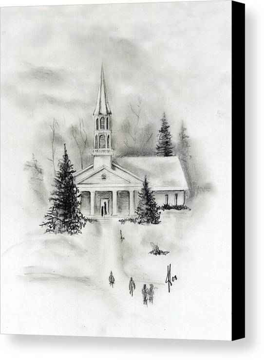 Country Canvas Print featuring the photograph Winter Church by Jacob Cane