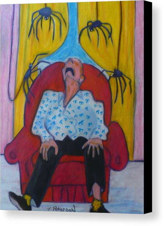 Crayon Canvas Print featuring the painting Grandpa And The Spiders by Todd Peterson