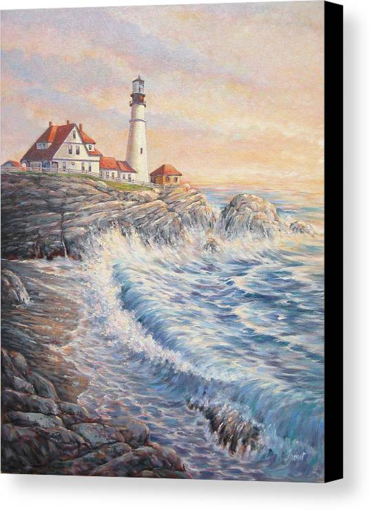 Lighthouse Canvas Print featuring the painting Sunrise Light by Don Trout