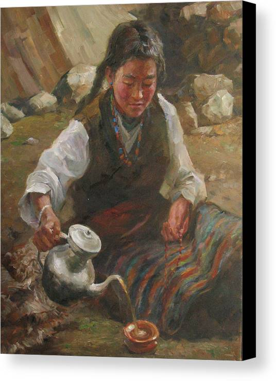 Tibet Canvas Print featuring the painting Afternoon Tea by Kelvin Lei