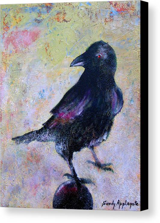 Raven Canvas Print featuring the painting Bird Above His Chamber Door by Sandy Applegate