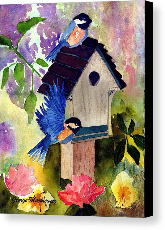 Bluebirds In Springtime Canvas Print featuring the print Bluebirds Nesting by George Markiewicz