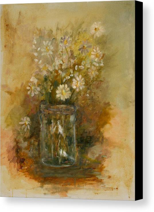 Floral Still Life Canvas Print featuring the painting Daisies In A Jar by Betty Stevens