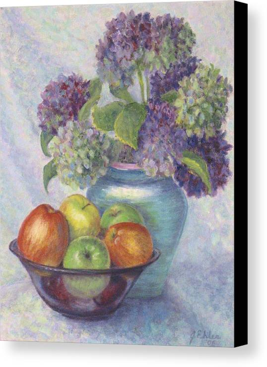 Hydrangea's Canvas Print featuring the painting Hydrangea's And Apples by Jean Ehler