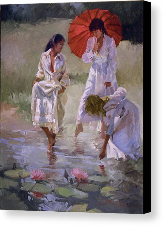 Figurative Canvas Print featuring the painting Ladies And Lilies by Betty Jean Billups