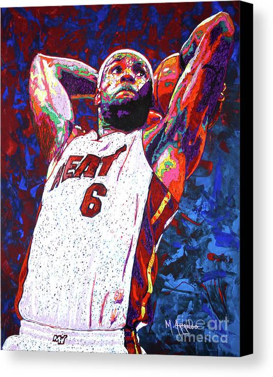 Lebron Canvas Print featuring the painting Lebron Dunk by Maria Arango