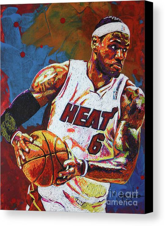 Lebron Canvas Print featuring the painting Lebron James 3 by Maria Arango