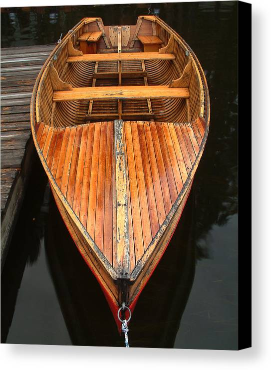 Cedar Strip Boat Canvas Print featuring the photograph Nipissing Boat by Linda McRae