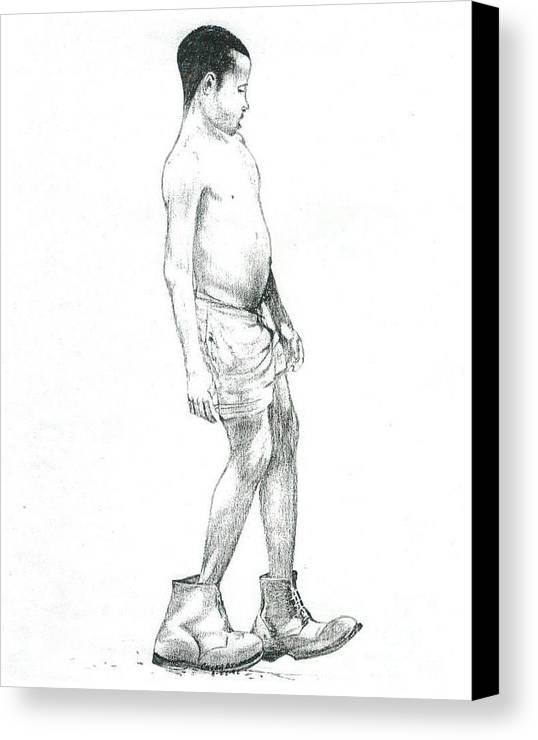 Boys Canvas Print featuring the drawing Pops Boots by Caleb Bynum