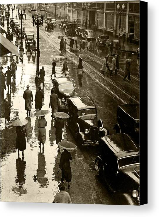 Canvas Print featuring the photograph Rainy Day by Unknown