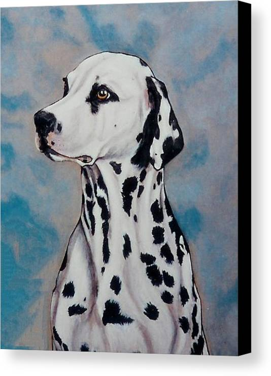 Dogs Canvas Print featuring the painting Spotty by Lilly King