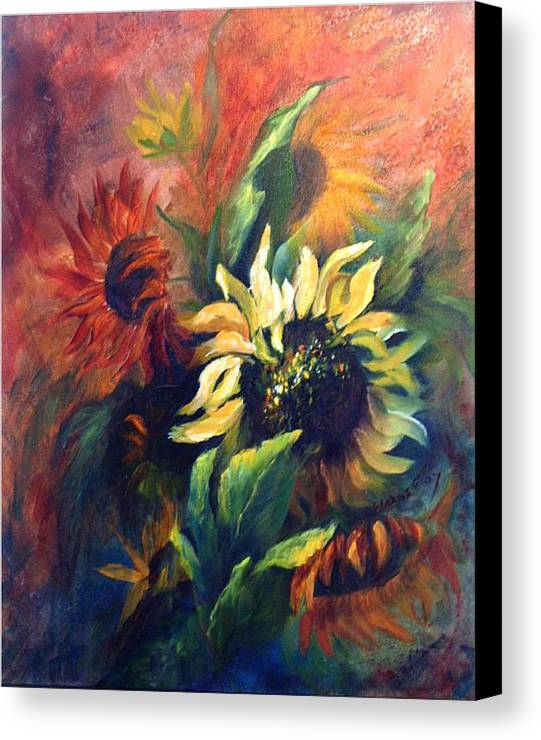 Sunflower Canvas Print featuring the painting Sunflowers In Red by Elaine Bailey