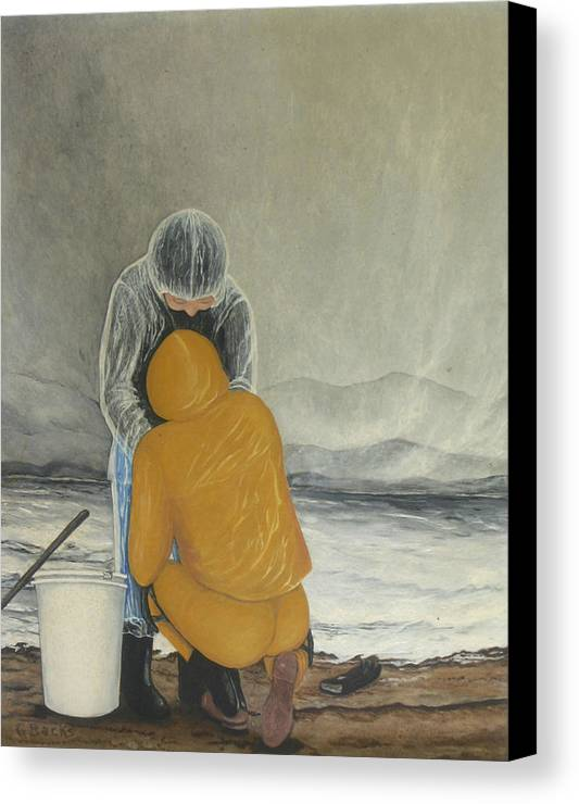 Figurative Canvas Print featuring the painting The Clamdigger by Georgette Backs