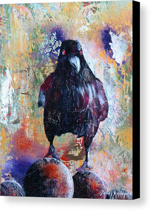 Raven Canvas Print featuring the painting This Ebony Bird by Sandy Applegate