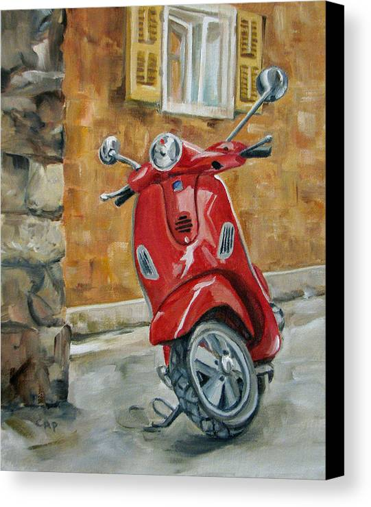 Vespa Canvas Print featuring the painting Vespa 4 by Cheryl Pass