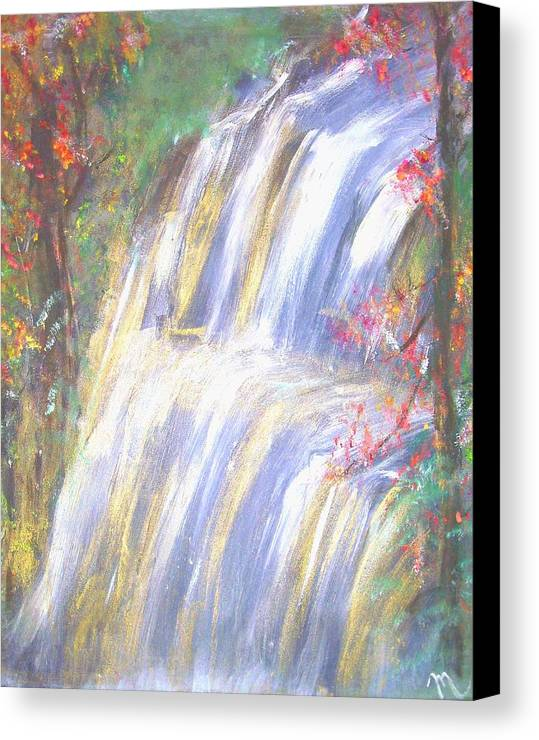 Landscape Canvas Print featuring the painting Waterfall Of El Dorado by Michela Akers