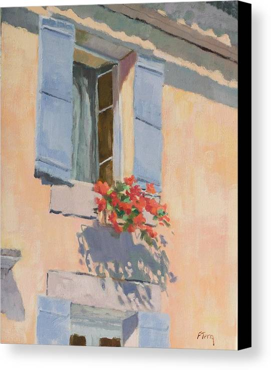 France Canvas Print featuring the painting Windowbox Flowers by Fay Terry