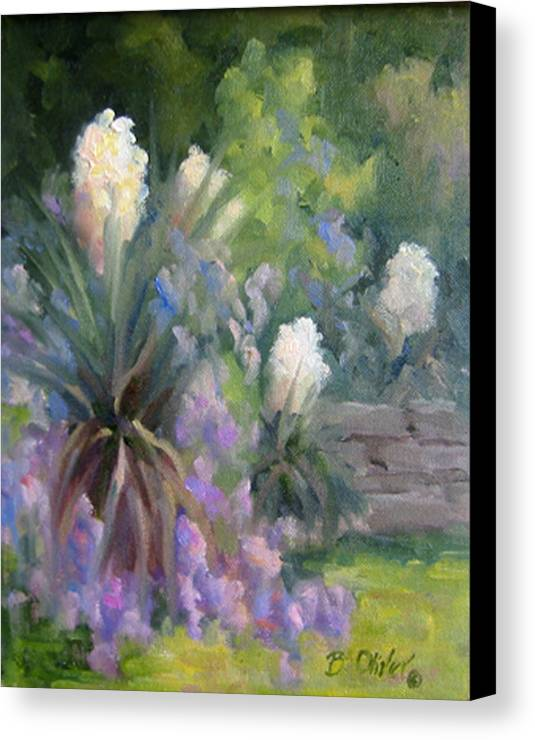 Yucca Canvas Print featuring the painting Yucca And Wisteria by Bunny Oliver