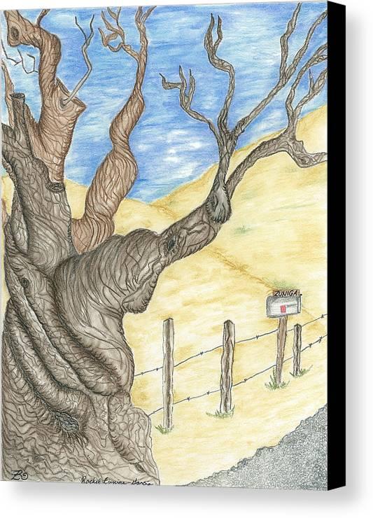 Ranch Canvas Print featuring the pastel Zuniga Ranch Almond Tree by Rachel Zuniga