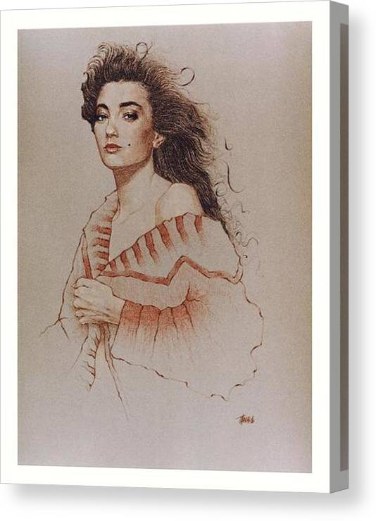 Portrait Figurative Drawing Female Illustration People Woman Pencil Canvas Print featuring the drawing Morgan by Terry White