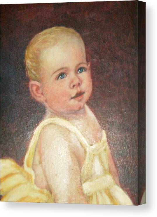 Babygirlcuteblondhair Canvas Print featuring the painting Me 2 by Anne-Elizabeth Whiteway