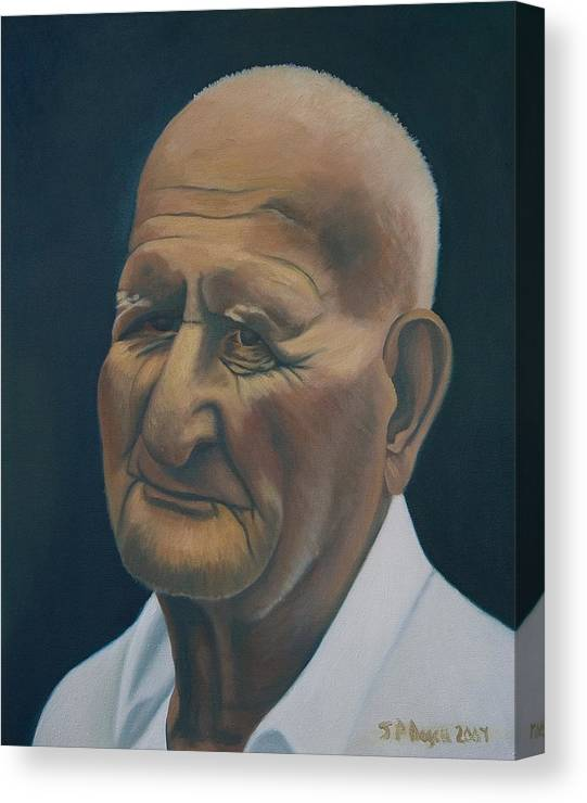 Portrait Canvas Print featuring the painting Portrait Of Old Man In St. Louis by Stephen Degan