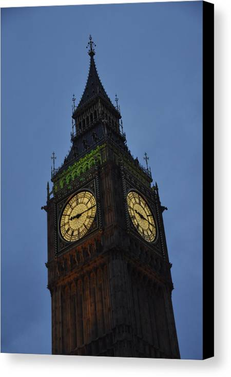 London Big Ben Clock Tower Tall Heights Travel Lights Old Timeless Dusk Face Time England British Canvas Print featuring the photograph Biggest Ben by Jessica Mcmulkin