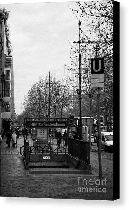 Berlin Canvas Print featuring the photograph Kufurstendamm U-bahn Station Entrance Berlin Germany by Joe Fox