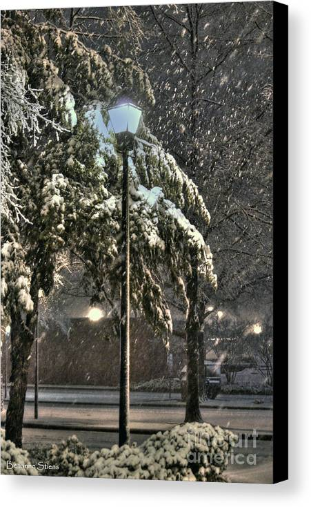 Street Lamp Canvas Print featuring the photograph Street Lamp In The Snow by Benanne Stiens