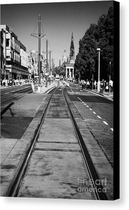 Princes Canvas Print featuring the photograph Completed Tram Rails On Princes Street Edinburgh Scotland Uk United Kingdom by Joe Fox