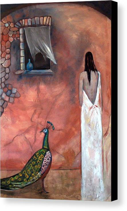 Woman Peacock Window Old Wall Red Orange Canvas Print featuring the painting Abeyance by Niki Sands