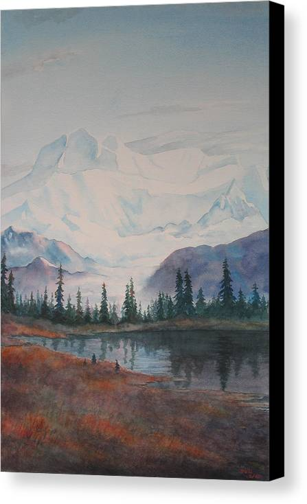 Alaska Canvas Print featuring the painting Alaksa Mountain And Lake by Debbie Homewood