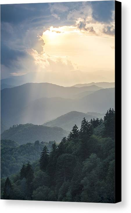 Light Canvas Print featuring the photograph Blue Ridge Parkway Nc From Above by Robert Stephens
