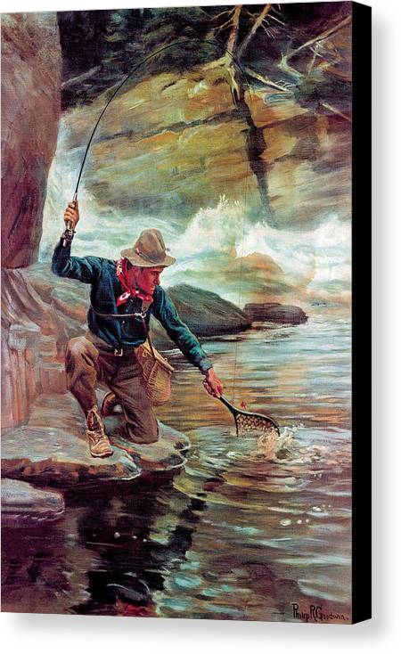 Fishing Canvas Print featuring the painting Fisherman By Stream by Phillip R Goodwin