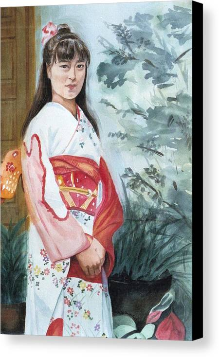 Japanese Girl In Kimono Canvas Print featuring the painting Girl In Kimono by Judy Swerlick