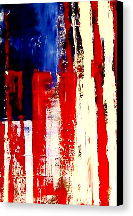 Flag Canvas Print featuring the painting Independence Day by Charles Jos Biviano