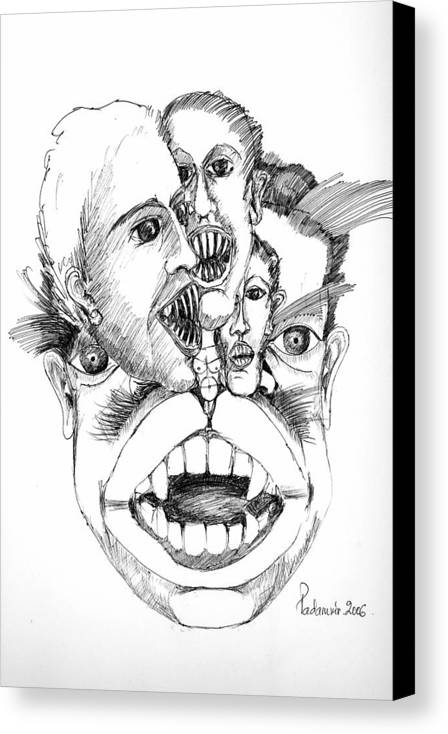 Surreal Canvas Print featuring the drawing Nightmares by Padamvir Singh