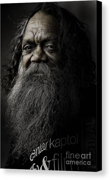 Aboriginal Canvas Print featuring the photograph Portrait Of Cedric by Sheila Smart Fine Art Photography