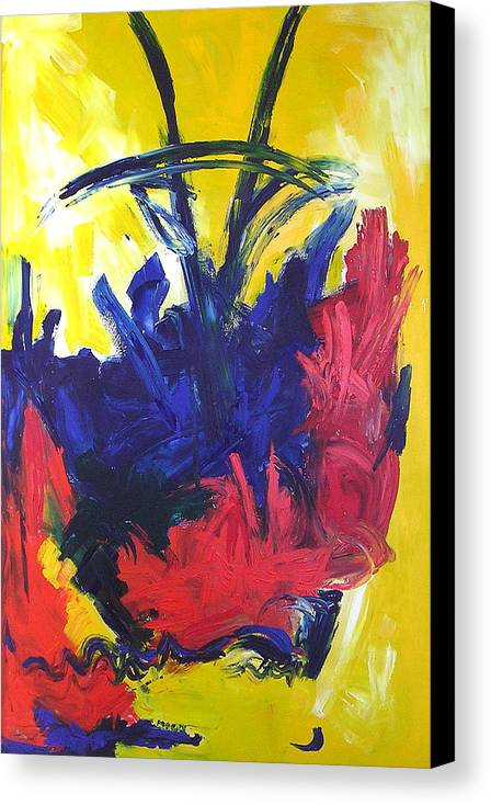 Primary Colors Abstract Canvas Print featuring the painting Primary Color Abstract by Maggis Art