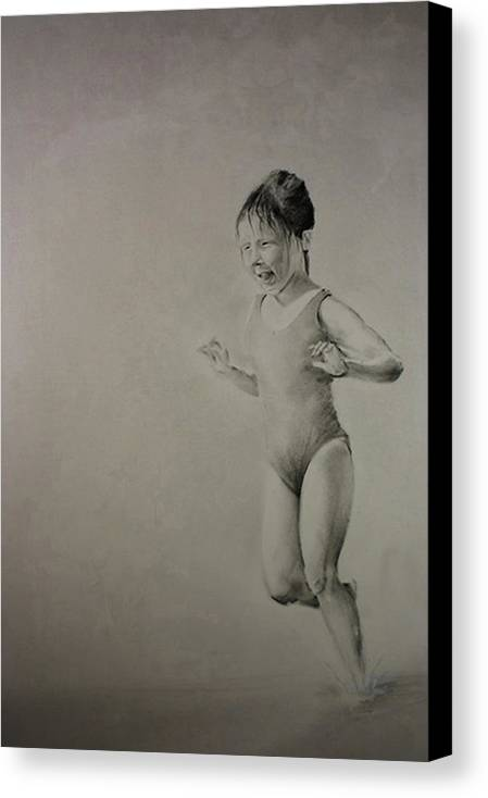 Children Canvas Print featuring the drawing Running On Water by John C